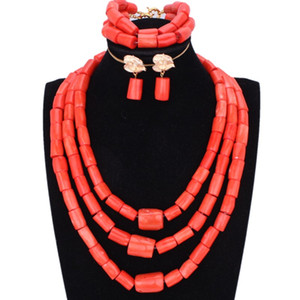 Chunky Original Coral  Jewelry Set for Nigerian Weddings Orange or Red African Women Necklace Bride  Bridal Jewellery