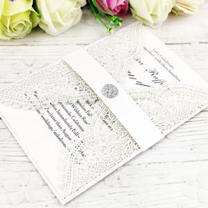 Heißer verkauf laser cut elfenbein weiß einladungskarten mit kristall für hochzeit braut dusche engagement geburtstag abschluss einladen