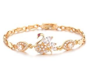 Avrupa Amerikan kadın moda takı kuğu 18 K altın kaplama kristaller Bilezikler link zinciri düğün lover hediye Chiristmas sevgililer günü