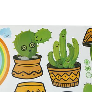 1 unid PVC Cactus Etiqueta de La Pared Planta Verde Tatuajes de Ventana de Pared Cactus Cactus Flor Para la Sala de estar Decoración Del Hogar