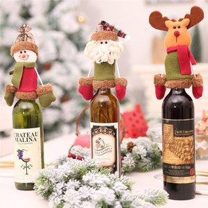 3 styles décorations de noël couvertures de bouteilles de vin Set Père Noël bouteille de vin Cap Cover Dinner Table Home Party Décoration