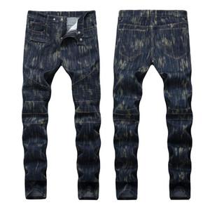 2018 plis des hommes frappé couleur jambe droite Jeans Fashion Designer trou jeans Causal Denim zip plis style jeans livraison gratuite qkn1388
