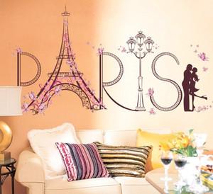 Spedizione gratuita Decorazioni per la casa Forniture soggiorno Adesivi murali decorativi fai da te Romantico Parigi Art Visual Wall Sticker Decalcomanie per pareti in PVC