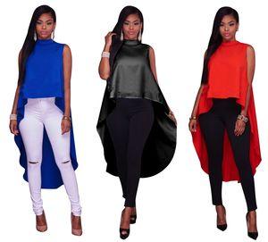 Camicia sexy Cloak Donna O Collo Senza maniche Allentato Casual Cerniera Top Plus Size XL Rosso 1800660