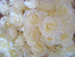 Crema Marfil 100p artificial de la camelia Rose Peony Cabeza de flor 7--8cm cabeza decoración de flores Inicio del partido