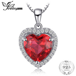 JewelryPalace 3.9ct Created Red Ruby Love Forever Halo Heart Pendant Necklaces For Women Real 925 Sterling Silver 45cm Box Chain