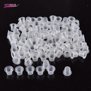 100 Teile / satz Tattoo Ink Cup Cap Halter Topf Kleine Plastikbecher Microblading Make-Up Pigment Container Halter Tattoo Supplies