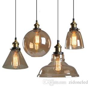 Loft Glass Droplight Rétro Pendentif Lumières Smoky Gris Suspension E27 Pendentif Lampes Luminaire Industriel pour bar restaurant lumière