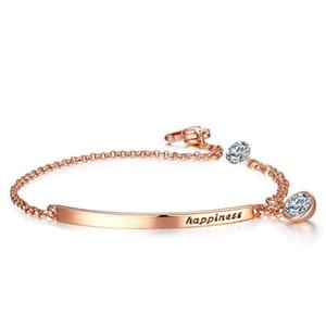 (338B) (16 cm + 4 cm) Bracelets en cristal de couleur or rose pour les femmes Le bonheur lettre Europe Fashion Jewelry 4 Choix de couleur