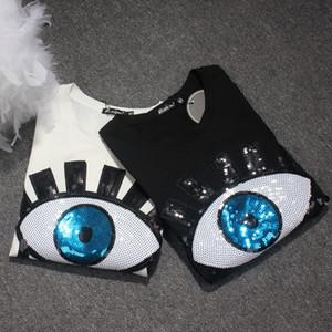 2018 Verão Nova Moda das Mulheres Grandes Olhos Lantejoulas Lycra T-shirt de Algodão Europeu Maré Marca Blusa de Manga Curta Camisa Tamanho S-4XL