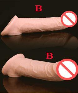 Super Soft Realistic Silikon Penis Extender Hülse Hahn Vergrößerung Enhancer Wiederverwendbare Verzögerung Gonobolia Dick Ring Erwachsene Sexspielzeug für Männer