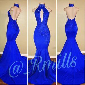 2018 African Royal Blue Mermaid Abendkleider Lange High Neck Sexy Open Back Sleeveless Abendkleider