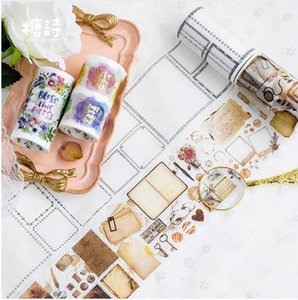 8cm 크리 에이 티브 빈티지 노트 꽃 인사말 장식용 접착 테이프 Scrapbooking 마스킹 Washi Tape 학교 사무용품 2016