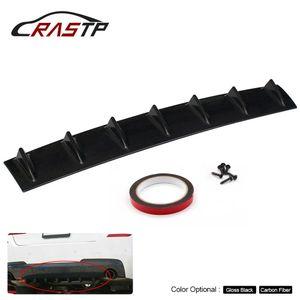 RASTP Diffuseur à ailettes de pare-chocs arrière Châssis 7 lèvre d'aile ABS Universel Carbone / Noir Grand RS-LKT025-L