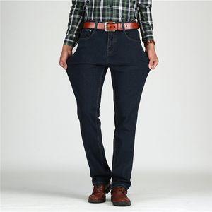 Tiger Castle Мужские джинсы с высокой талией Хлопковые толстые классические эластичные джинсы Черно-синие мужские джинсовые брюки Прямые весенние осенние мужские комбинезоны
