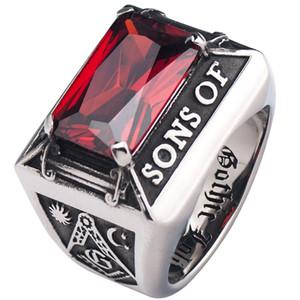 Mason gratis con anillo de circonio rojo para hombre de alta calidad de cuatro puntas de ajuste de joyería de anillo de índice de acero inoxidable