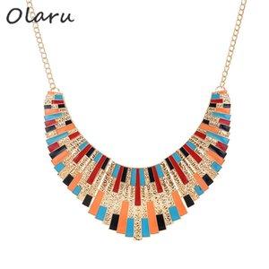 Olaru Fashion Jewerly Metal Geometric Irregular Choker Necklace Accessori donna Statement Chunky Collane Prezzo all'ingrosso