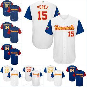 Men Venezuela 2017 Jérsei Mundial de Beisebol 15 Salvador Perez 27 José Altuve 24 Miguel Cabrera 34 Jérseis de Basebol Felix Hernandez