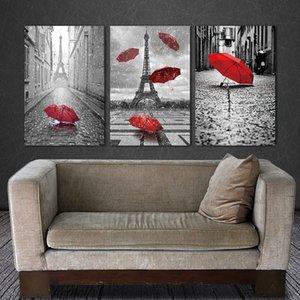 BANMU Peinture Mur Art Noir et Blanc Tour Eiffel avec Red Unbrella Rue Peinture Décoration Image Artwork Impressions Toile