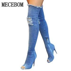 2018 nuevas mujeres de moda agujero Denim tacones altos sobre la rodilla botas primavera verano Sexy Peep Toe muslo botas altas Hot Botas N15W