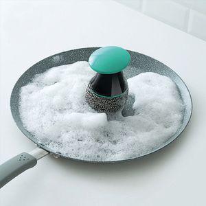 فرشاة تنظيف الإبداعية سلك الكرة فرشاة أدوات المطبخ غسل عموم السلطانية صحن فرشاة الفولاذ المقاوم للصدأ تنظيف الكرة HH7-386