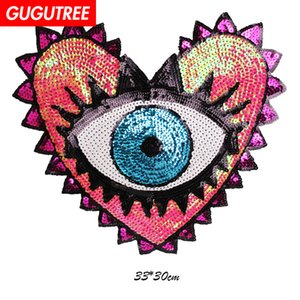 GUGUTREE bordado paillette amor grande corazón parches ojos parches insignias apliques parches para la ropa