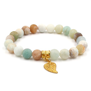 2019 nuovi bracciali pietra smerigliato Amazon pietra naturale stella foglia corona pendente braccialetti elastici per le donne regalo