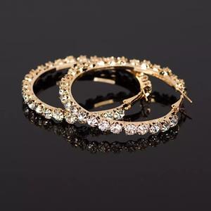 2018 New Designer Crystal Rhinestone Earrings Women Gold Sliver Hoop Earrings Fashion Jewelry Earrings For Women DHL Free