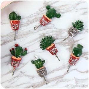 Lindo gancho de pared Cactus autoadhesivo en forma de olla Forma ropa Ganchos Fuerte poder viscosa Acero inoxidable Pothook Robusto 3 años ZZ
