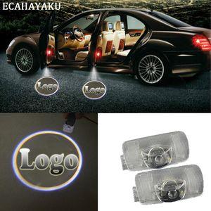 ECAHAYAKU 2 개 유령 그림자 빛 환영 램프 로고 레이저 프로젝터 자동차 LED 도어 경고 빛 아우디 BMW 도요타 메르세데스-벤츠