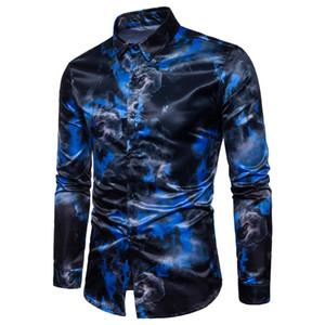 Chemise hommes 3d couleur impression design manches longues col rabattu slim fit de haute qualité fashion chemise hommes