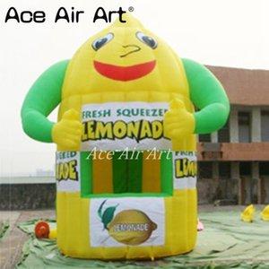 Bonita cabina de limón inflable, tienda de limonada, tienda de campaña inflable personalizada de kiosco de limón, puesto de bebida de fruta para publicidad