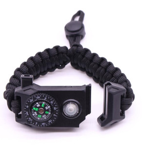 2019 adjustable design mix color Climbing Rope Survival Cord Bracelets Outdoor Paracord Bracelets with SOS LED Light & Compass Hope Bangles