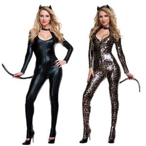 2019 Yeni Seksi Fetiş Kulübü Giyim Gotik Hayvan Kuyruk Kedi Kuyruk Leopar Baskı Siyah Lateks Cosplay Takım Lame Catsuit