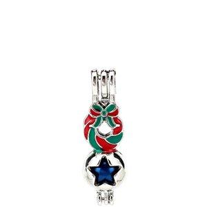 Esmalte de prata Feliz Natal Bowknot Guirlanda Estrela Ostras Contas Gaiola Pingente Medalhão Aromaterapia Perfume Óleos Essenciais Difusor