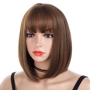 Moda Peruk Hava Patlama Bob Saç. Kısa Sentetik Peruk Düz Saç Peruk Moda Ucuz Yan Bang Kadınlar için Isıya Dayanıklı Saç