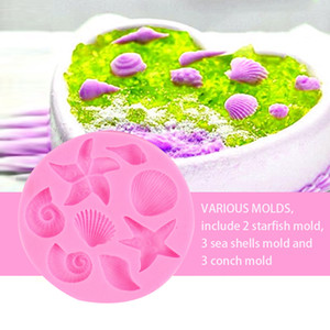 Stampo per biscotti in silicone Sea World Snail Shell Starfish Conch Moulds Carino rosa romantico Seashell Moulds Migliore partner per la torta a tema marino