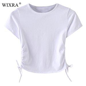 Wixra Basic Fashion Tees 2018 Summer Tops Mujeres Slim T-Shirt Mujer Solid O-Neck Lace Up Camisetas de manga corta para mujer