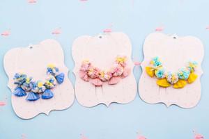 Сладкий новорожденных девочек ожерелье марлевые цветок кисточкой дети Все матч ожерелье красочные цветочные дети ювелирные изделия Принцесса аксессуары C3557