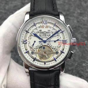Aço inoxidável de homens mecânicos 2018 New couro marrom relógio automático Sports Mens Relógios Self-vento turbilhão masculinos 2813 Relógios de pulso