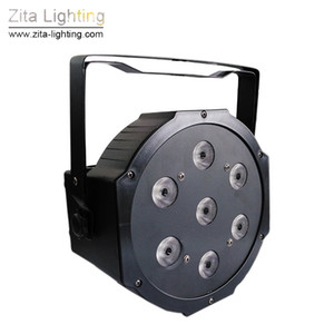 Zita Lighting LED Par Lights Mini Flat RGBW Par Can Stage Lighting 7X12W 4IN1 DMX512 SlimPar Mixing Colour DJ Disco Wedding Party Effect