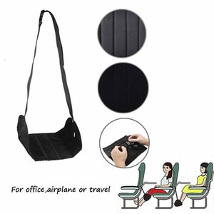 Foot Rest Hammock for Office Plane Train-Black Adjustable Comfortable Under Dest Foot Rest for Long Travel Office Home