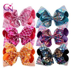 8 pulgadas colorida grande Boutique Lazo para el cabello escala del dragón manera de los pescados en el clip regalos de Navidad pinzas de pelo