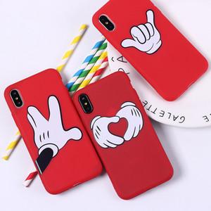 Para Iphone 11 Pro Xs Max Xr Caso amantes Luvas gesto do telefone 6 7 8 x mais positiva Energia rato celular casos