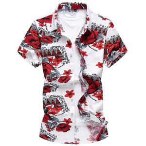 ساحة كبيرة الصيف الرجال القمصان الأزهار زهرة المطبوعة قميص قصير بأكمام قصيرة بدوره أسفل الياقة الأعلى الملابس