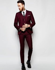 2019 Burgundy Formal Wedding Men Suits for Groomsmen Wear Three Piece Trim Fit Custom Made Groom Tuxedos Evening Party Jacket Pants Vest