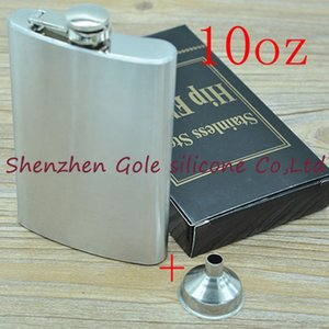 Wholesale 100pcs/lot Mini Portable 10oz Stainless Steel Hip Flask Liquor Whisky Alcohol Cap + Funnel Drinkware Hot Sale Gift
