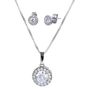 Hochwertige Silber Zirkon Hochzeit Schmuck Sets Ohrringe Halskette Set Mode Geschenke Für Frauen Braut 2018 Neue Ankunft