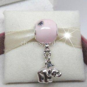 925 sterling silver elefante e rosa balão pendurado dangle talão com cz fit europeu pandora charme pulseira colar
