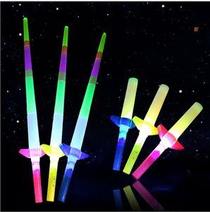 Télescopique LED bâton lumineux Flash LED bâton lumineux Épée fluorescente Bâtons lumineux LED Cheer Props Festivals Concerts de Carnaval de Noël Jouets